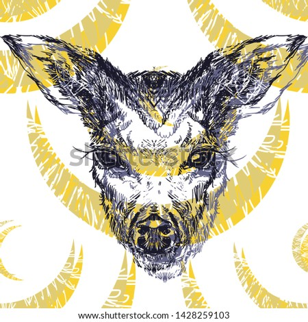 Deer head with large ears and eyes. Geometric linear animal. Linear graphics. Modern design for advertising, branding greeting card, cover, poster, banner.