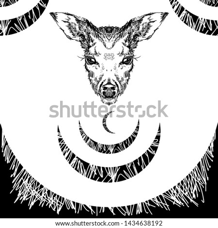 Deer head with large ears and eyes. Geometric linear animal. Linear graphics. Modern design for advertising, branding greeting card, cover, poster, banner. stag deer head.