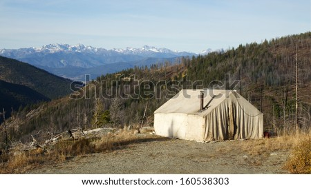 Deer hunting camp in the mountains with an old canvas wall for Wall tent idaho
