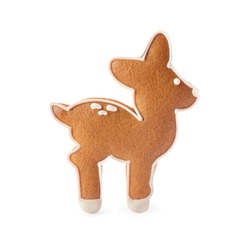Deer shaped Christmas cookie isolated on white