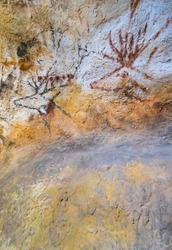 Deer swimming frieze, Replica of the Paleolithic cave painting of Lascaux in Aquitaine Museum at Pasteur Avenue in Bordeaux city of Nouvelle Aquitaine region of France in Europe