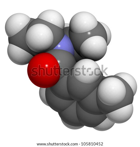 DEET (N,N-Diethyl-meta-toluamide) insect repellent molecule, chemical structure. Atoms are represented as spheres, conventional atom coloring.