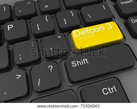 Defcon levels 3d keyboard key