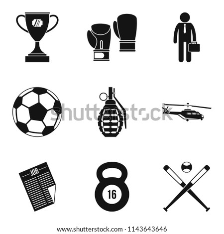 Defeat icons set. Simple set of 9 defeat icons for web isolated on white background