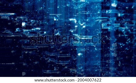 Defected Blue HUD interface 3D Illustration with abstract digital code. Concept glitch background as cyberpunk computer meltdown overlay with fragments and hex code of alien communication decryption Foto stock ©