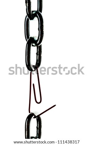 defective steel chain is held together by a paper clip
