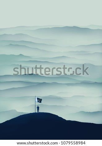 Defence Day Pakistan - Solider holding flag