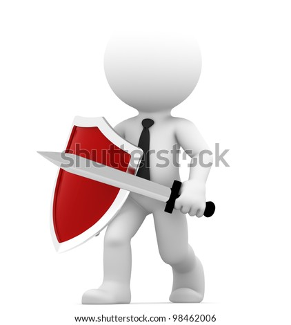 Defending. Conceptual business illustration. Isolated on white background