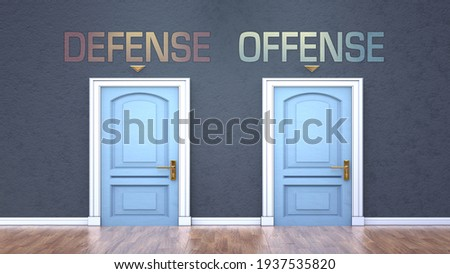Defense and offense as a choice - pictured as words Defense, offense on doors to show that Defense and offense are opposite options while making decision, 3d illustration Foto stock ©