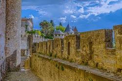 defense walls of the historic castle of carcassonne in southern france.