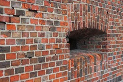 Defensive fortification of a fort in Prussia. architectural masonry of ceramic bricks of the 18th century in Europe.