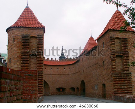 Defensive walls surrounding Old Town in Warsaw, Poland.
