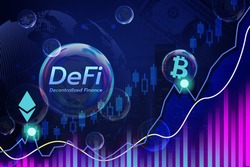DeFi decentralized finance is a bubble,token symbol in soap bubble, cryptocurrency coin DeFi project decentralized finance.