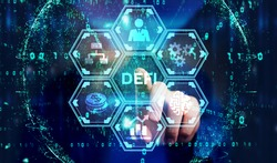 DeFi -Decentralized Finance on dark blue abstract polygonal background. Concept of blockchain, decentralized financial system.