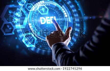 DeFi -Decentralized Finance on dark blue abstract polygonal background. Concept of blockchain, decentralized financial system Foto d'archivio ©