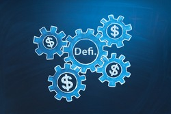 DeFi decentralized finance symbol. Concept of blockchain, decentralized financial system. An ecosystem of financial applications and services based on public blockchains