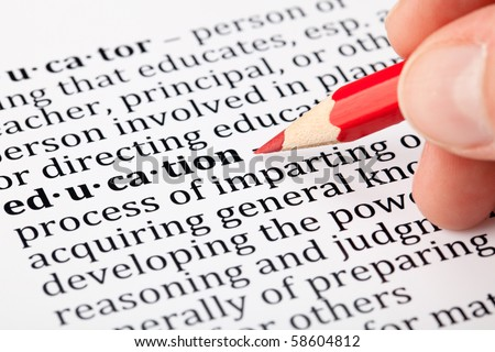 Definition of education - stock photo
