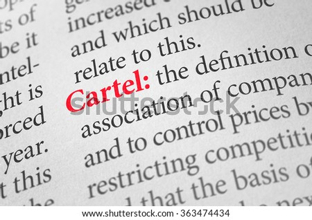 Shutterstock Definition of the word Cartel in a dictionary