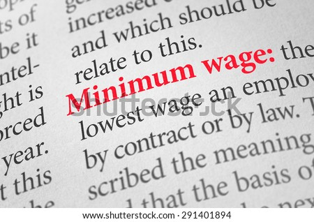 Definition of the word Minimum wage in a dictionary Stock photo ©