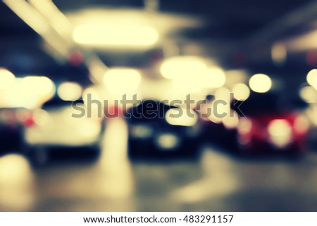Defocus blurred background of car in parking lot. #483291157