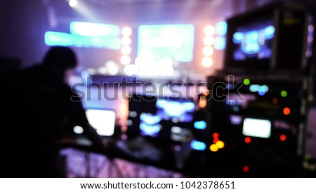 defocus light control backstage setup production live streaming show entertainment bokeh