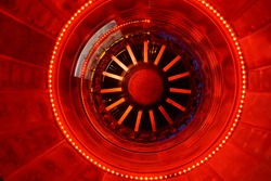 Defocused aerodynamic red  turbine engine airplane technology concept