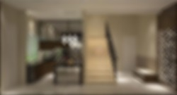 Defocused and Blur Photo of Luxury and Modern Pantry and Stair Interior Design