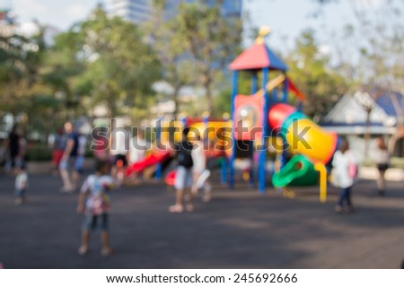 Defocused and blurred image for background of children's playground,activities at public park