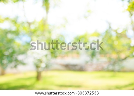 Defocused and blurred image for background of Green Landscape. - Shutterstock ID 303372533