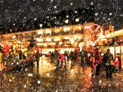 Defocused blur background of christmas market.