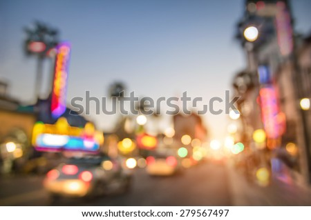 Defocused blur of Hollywood Boulevard at sunset - Bokeh abstract view of world famous Walk of Fame in California - United States of America wonders - Emotional saturated filter with powered sunshine stock photo