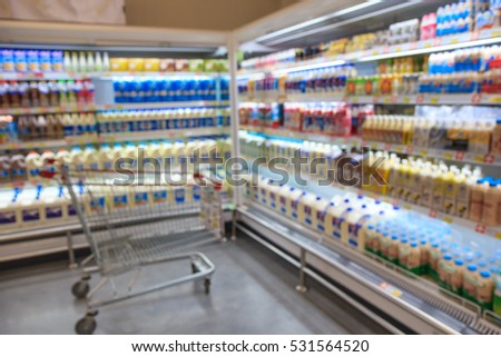 Defocused blur of supermarket shelves with dairy products. Blur background with bokeh. Defocused image #531564520