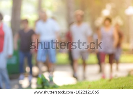 Photo of Defocused, blurry, out of focus. Royalty high quality free stock photo image of people do exercise morning in a park. The people who exercise in the park are very crowd. Ho Chi Minh city, Vietnam