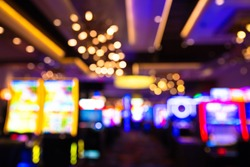 Defocused casino blur with slot machines and lights