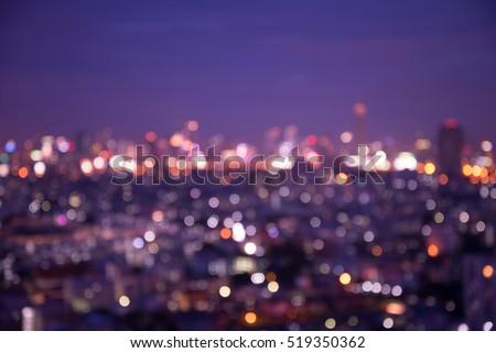 Defocused cityscape at night light background