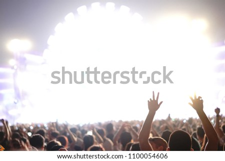 Defocused entertainment concert lighting on stage, blurred disco party and Concert Live #1100054606