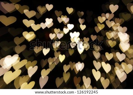 defocused hearts light background