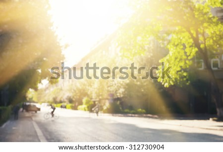Defocused image of street with trees and sunlight