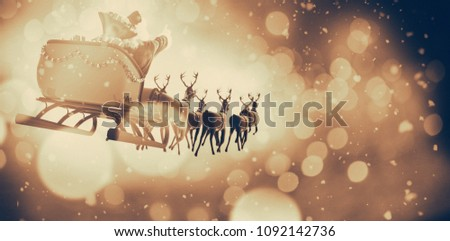 Defocused of christmas tree lights and fireplace #1092142736