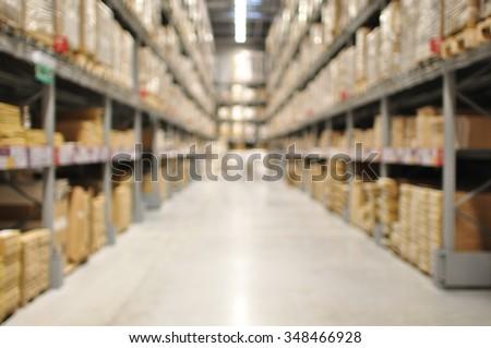 Defocused of Interior Of Warehouse
