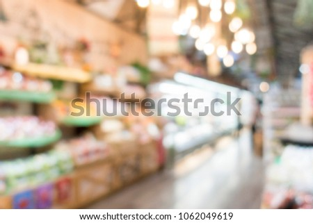 Defocused of shelf, display in supermarket for background.