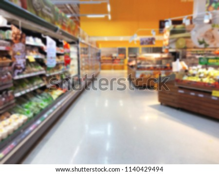 Defocused of shelf in supermarket with product blurred background