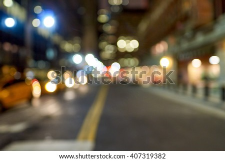 Defocused shot of New York City at night. #407319382