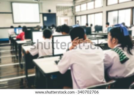 defocused student study...