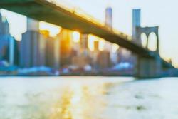 Defocused view of the New York skyline from Brooklyn Bridge Park