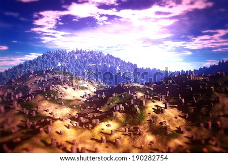 Deforestation Aerial 3D illustration artwork Human clean huge areas every day on Earth that can cause soil erosion destruction, water cycle, loss of biodiversity and climate change.