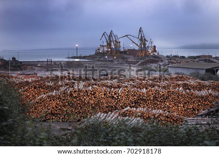 Deforestation ecological problems. Wood preparied for transportation in sea port with cranes. Ecology disaster with trees and wood #702918178