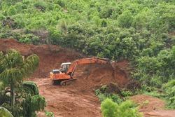 Deforestation of rainforest. Environmental problem. destruction of forest. Indian forest destroyed for plantations India