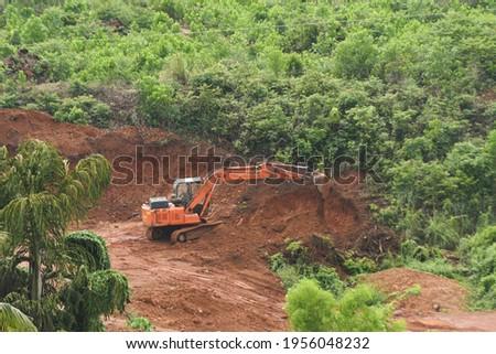 Deforestation of rainforest. Environmental problem. destruction of forest. Indian forest destroyed for plantations India Stockfoto ©