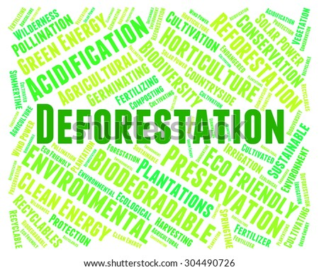 Deforestation Word Indicating Cut Down And Woodland